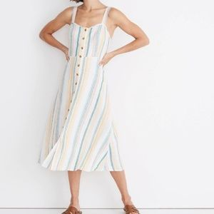 Madewell Linen Fitted-Bodice Midi Dress